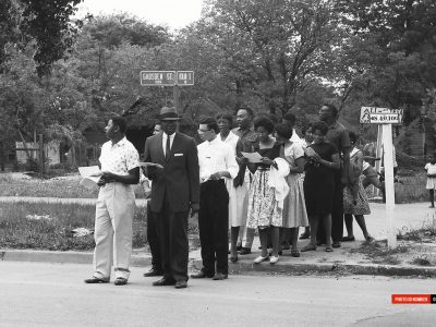 May 1960. Allen and Benedict College students near Governors Mansion. (Courtesy of David Wallace)