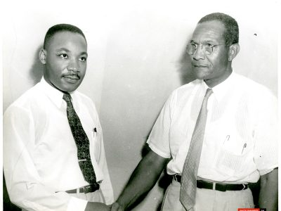 September 19, 1959. Dr. Martin Luther King Jr. and Dr. Charles Gomillion at the SCLC. (Courtesy of John Goodwin)