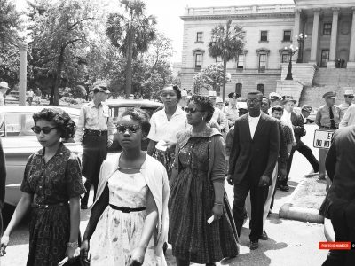 May 1960. Allen and Benedict students march to the Statehouse. (Courtesy of David Wallace)