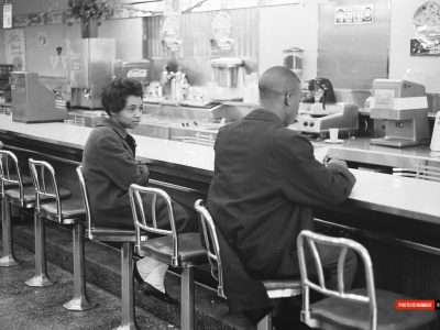 Mar 3 1960. Annie Hackett (left) performing sit-in demonstration at Columbia's Woolworth's. (Courtesy of David Wallace)