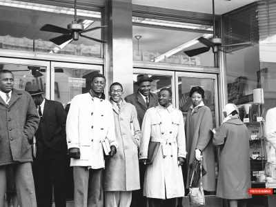 March 1960. Allen and Benedict College students on Columbia's Main St.