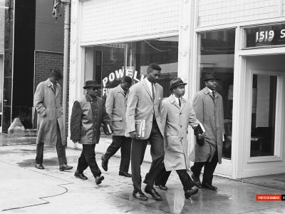 March 1960. Allen and Benedict College students on Sumter St.