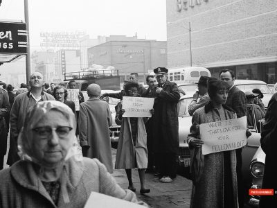 Allen and Benedict College students demonstrate on Columbia's downtown Main St. (Courtesy of David Wallace)